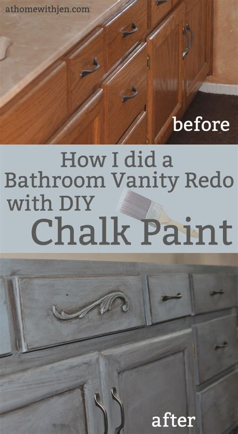 chalk painting a bathroom vanity at home with jen