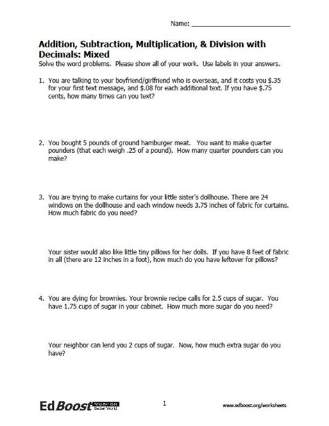 word problems worksheets decimals decimal word problems edboost