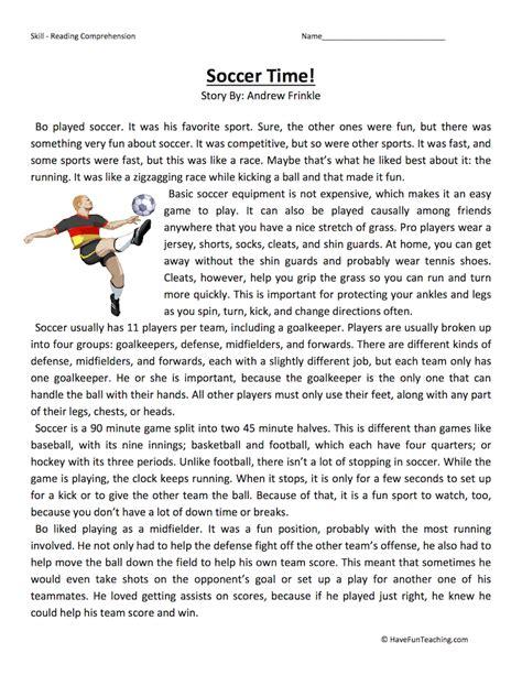 Soccer Time  Reading Comprehension Worksheet