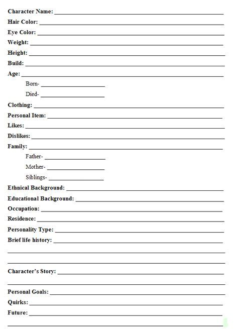 character chart template a guide to creating interesting fictional characters character sheet charts and fictional