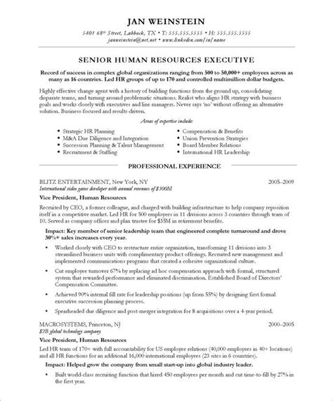 Resume Header Template by Hr Executive Page1 Executive Resume Sles Sle