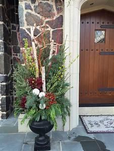 Winter, Planter, Garden, Design, Birch, Poles, Spruce, Tips, Incense, Cedar