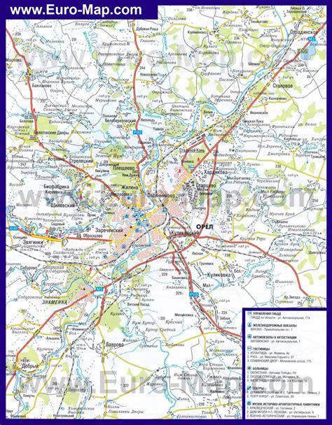Карты Орла   Подробная карта города Орёл с улицами, номерами домов и районами   Автомобильная ...
