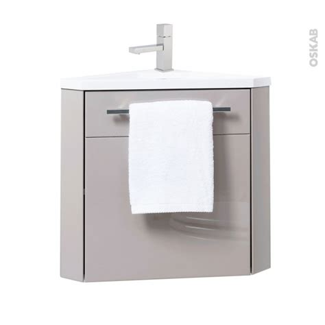 meuble lave mains d angle fuji taupe avec robinet l44 x p26 x h55 4 cm oskab