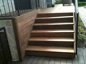 Hauteur Marche Escalier Extérieur : escalier marches bois sur mesure de terrasse en hauteur balcon perron ~ Farleysfitness.com Idées de Décoration