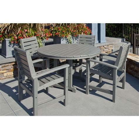 polywood signature slate grey 5 patio dining set