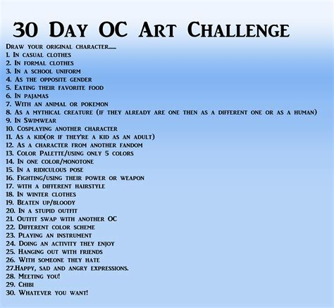 character design challenge draw your original character 30 day oc challenge
