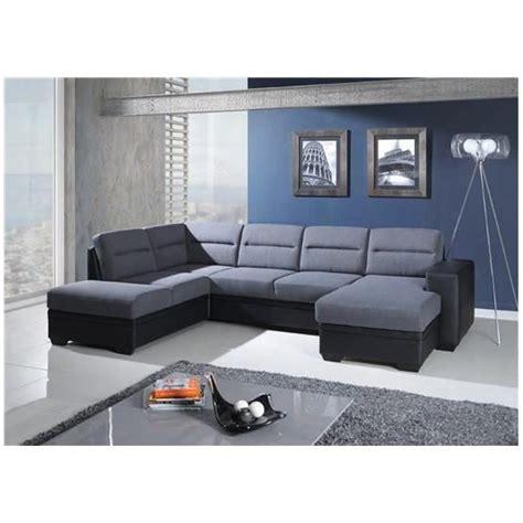 canapé d angle en canapé d 39 angle convertible en u neysid iii gris et noir