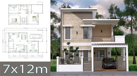 Home Design Plan 7x12m with 4 Bedrooms Plot 8x15 YouTube