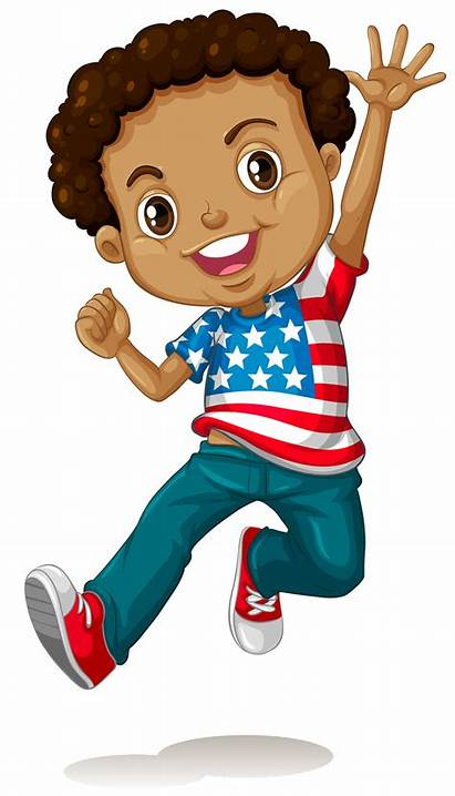 African Boy American Clipart Jumping Vector Clip