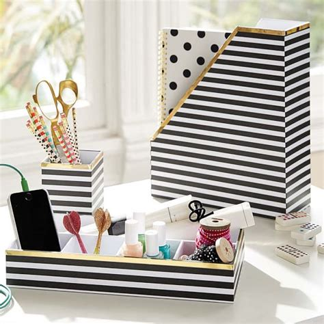 pink and gold desk accessories printed desk accessories black white stripe with gold