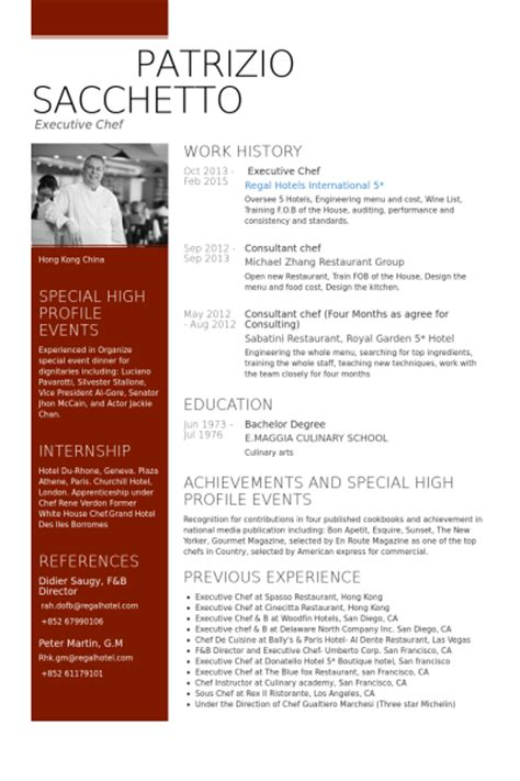 chef resume template executive chef resume sles visualcv resume sles database