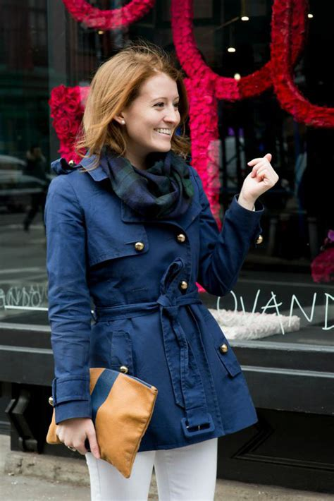 Outfit Navy Trench Coat Plaid Scarf Design Darling