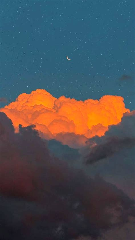 crescent moon in the cloudy sky in 2020 sky aesthetic