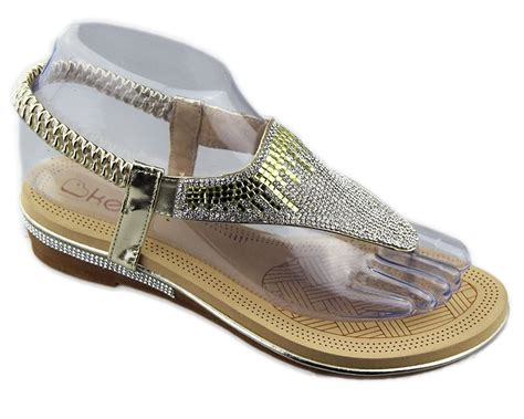 Wedding Sandals : New Womens Diamante Sparkly Flat Open Toe Summer Slippers