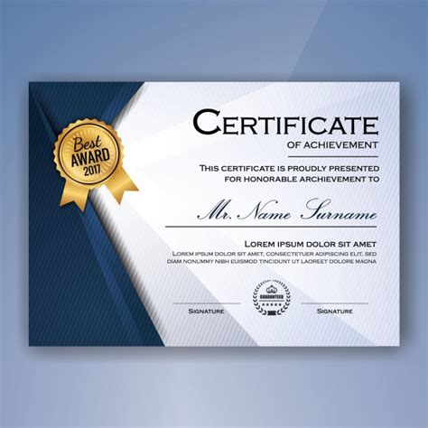 blue  white elegant certificate  achievement template