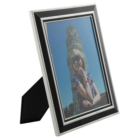 black  silver engraved picture frame