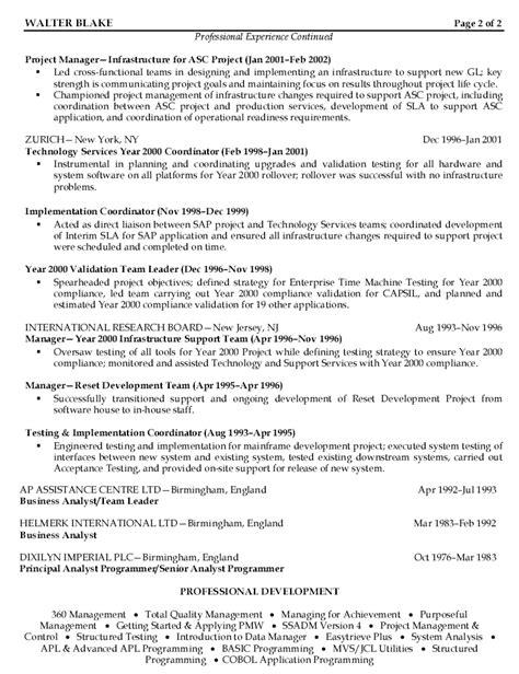 project management resume sle resume project manager sle resume