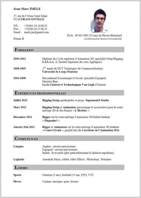 format cv francais secret life symposium