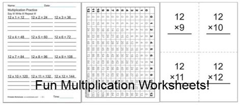 fun multiplication worksheets charts flash cards