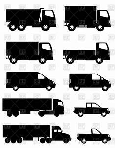 Side silhouettes of trucks for transportation cargo ...