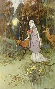 antique, antlers, art, deer, fairy tale, flowers, forest ...