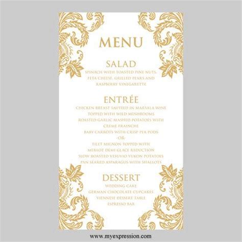 wedding menu card template gold damask  myexpressionshop
