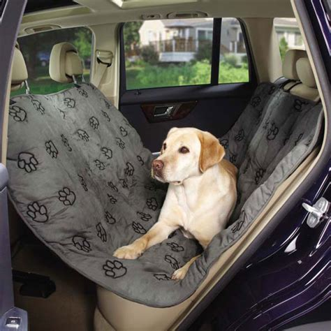 hunde autoschondecke mit pfotenstickerei grau ruecksitz
