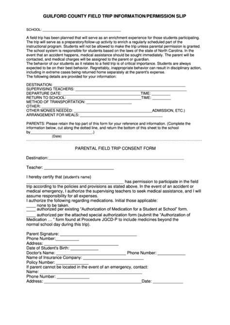 guilford county field trip informationpermission slip
