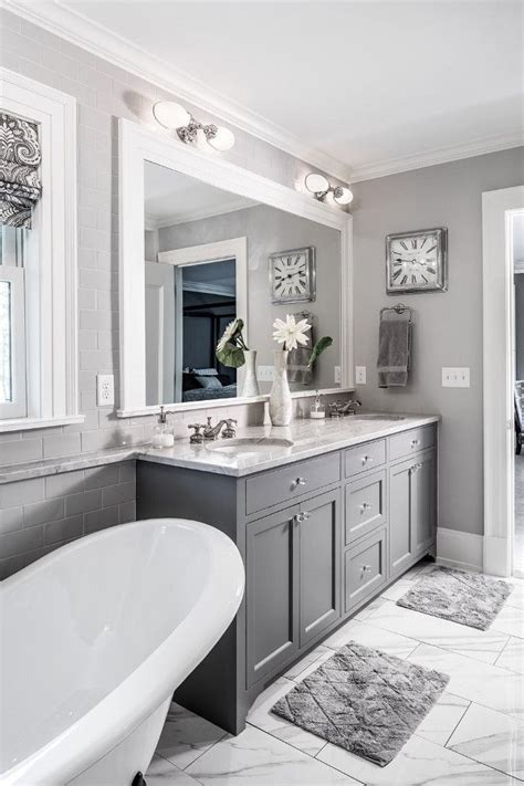 idee decoration salle de bain  grey cabinet paint