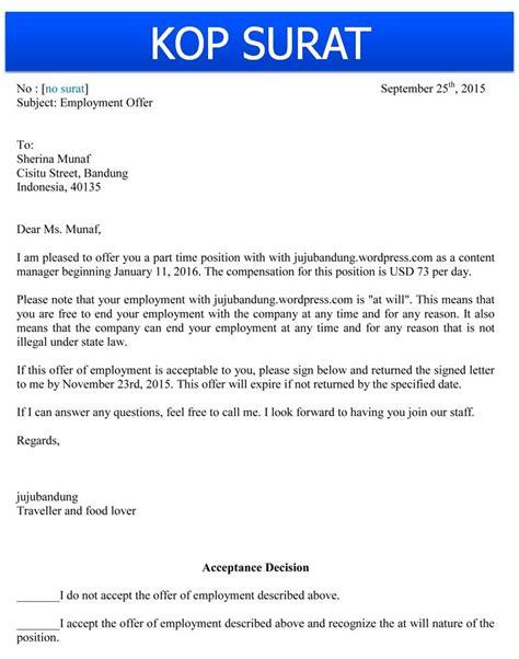 Contoh Surat Resume Dalam Bahasa Inggris by Contoh Surat Penawaran Pekerjaan Bahasa Inggris