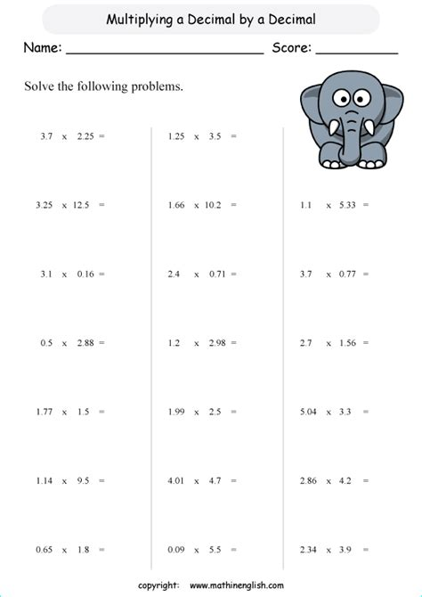 multiply decimals by decimals math decimal worksheet for grade 6 math students for math students