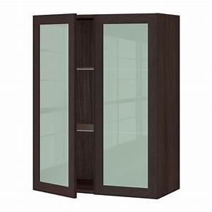 sektion wall cabinet with 2 glass doors wood effect With glass door kitchen wall cabinet