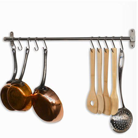 Kitchen Hooks For Pot Holders by Gourmet Kitchen Wall Mount Rail And 10 Hooks Stainless