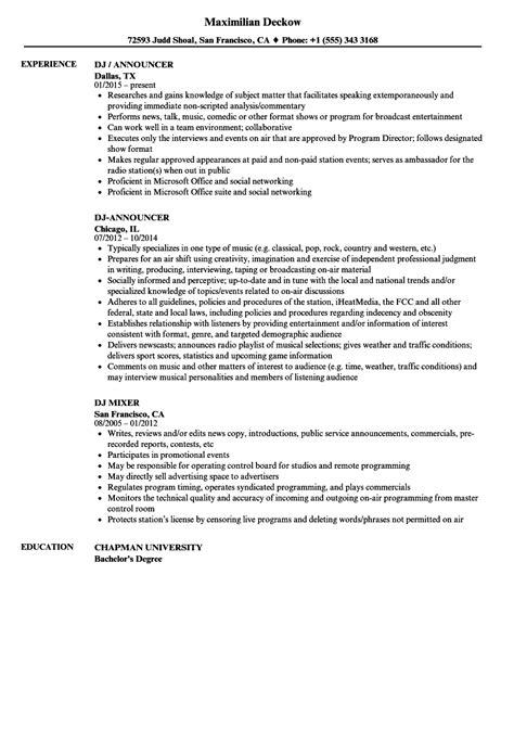 Dj Resume by Dj Resume Sles Velvet