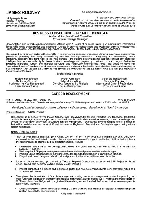 Business Consultant Resume by Business Resume Exle Sle