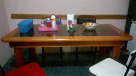 mesa comedor de vidrio templado mesa para comedor o cocina madera dura con vidrio templado