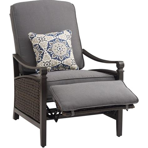 recliner chair cushions outdoor la z boy carson chestnut and espresso all weather wicker outdoor reclining patio lounge chair