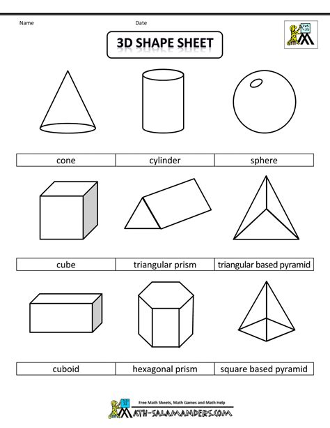 geometric shapes worksheets printable shapes 2d and 3d