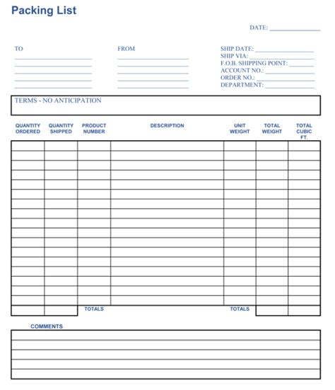 packing list sample form packing list template cyberuse