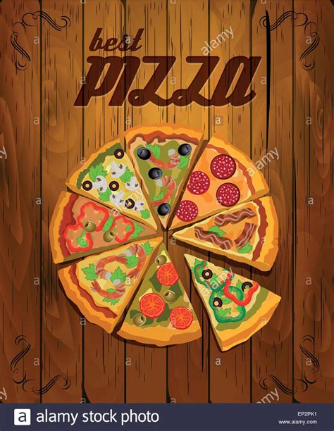 vector pizza label or poster design template pizza