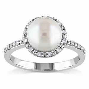 miadora silver white pearl and 1 10ct tdw diamond halo With pearl diamond wedding rings