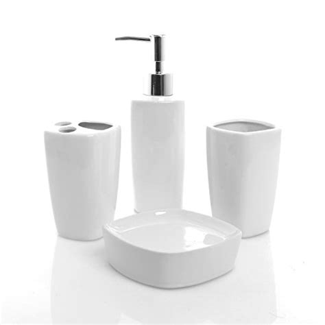 4 white ceramic bathroom set soap dispenser