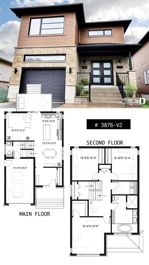 modern house plan  storey home plan  narrow lot