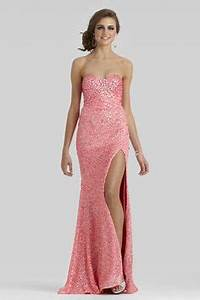 Clarisse 2014 Neon Pink Strapless Sweetheart Long Sequin