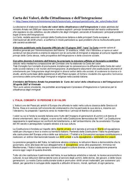 Min Interno Net Carta Valori Della Cittadinanza E Dell Integrazione