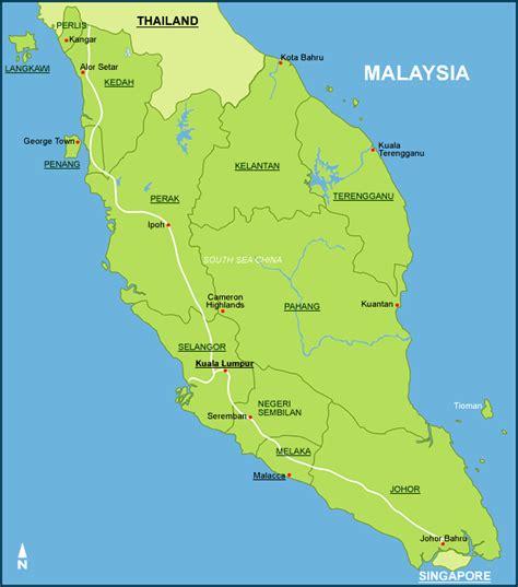 malaysia states map mainland borneo