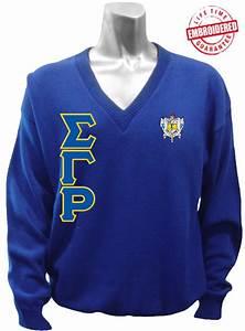 sigma gamma rho greek letter v neck sweater with crest With greek letter sweaters