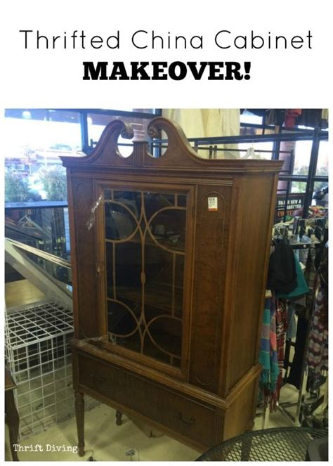 thrifted china cabinet makeover
