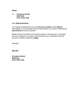 close unauthorized account letter template